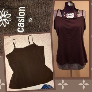 Caslon warm brown stretch thin strap cami tank 1x